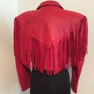 Vintage fringe real leather red cropped jacket.